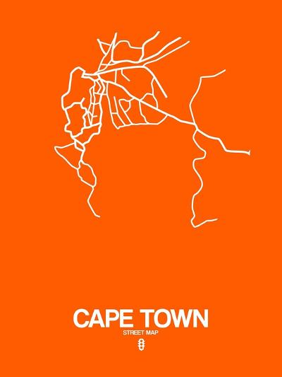 Cape Town Street Map Orange-NaxArt-Art Print