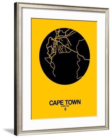 Cape Town Street Map Yellow-NaxArt-Framed Art Print