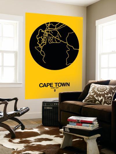 Cape Town Street Map Yellow-NaxArt-Wall Mural
