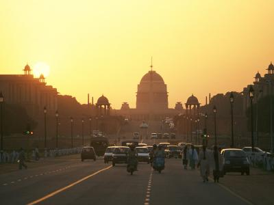 Capital Building in New Delhi, India, at Sunset-xPacifica-Photographic Print