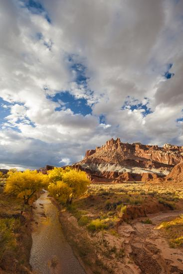 Capital Reef National Park. Autumn Reflections, the Castle and Sulphur Creek-Judith Zimmerman-Photographic Print