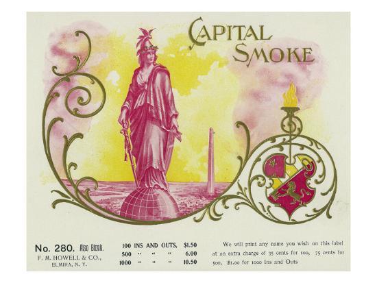 Capital Smoke Brand Cigar Box Label-Lantern Press-Art Print