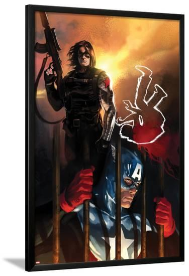 Capitan America No.612 Cover: Captain America and Winter Soldier Standing-Marko Djurdjevic-Lamina Framed Poster