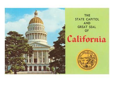 Capitol and Seal, Sacramento--Art Print