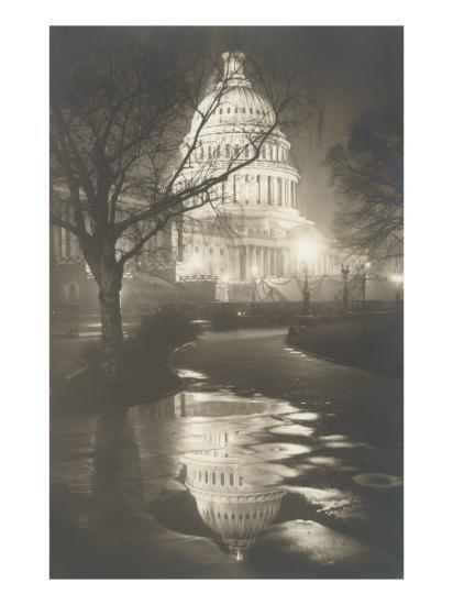 Capitol at Night, Washington, D.C.--Art Print