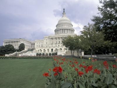 Capitol Building and Colorful Flowers, Washington DC, USA-Bill Bachmann-Photographic Print