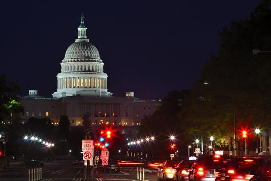 Capitol Building at Night with Street and Car Lights, Washington DC USA-Orhan-Photographic Print