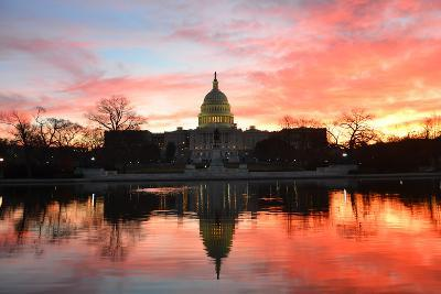 Capitol Building in a Cloudy Sunrise with Mirror Reflection, Washington D.C. United States-Orhan-Photographic Print