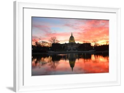 Capitol Building in a Cloudy Sunrise with Mirror Reflection, Washington D.C. United States-Orhan-Framed Photographic Print