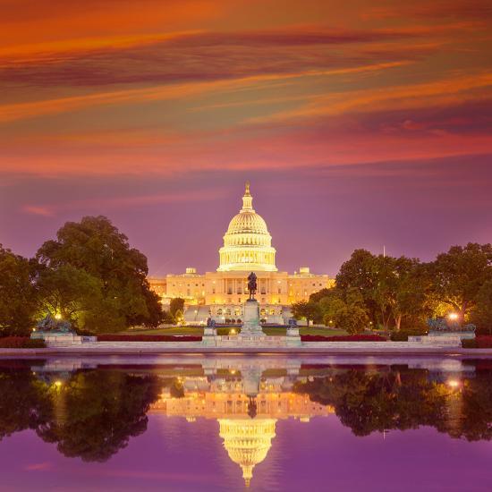 Capitol Building Sunset Congress of USA Washington DC US-holbox-Photographic Print