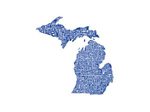 Typographic Michigan Blue by CAPow