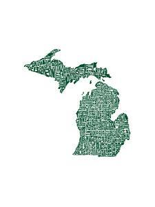 Typographic Michigan Forest Green by CAPow