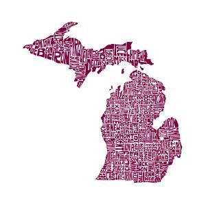 Typographic Michigan Maroon by CAPow