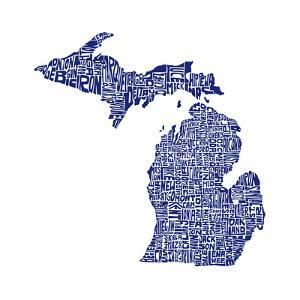 Typographic Michigan Navy by CAPow
