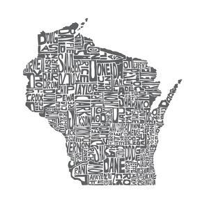 Typographic Wisconsin Charcoal by CAPow