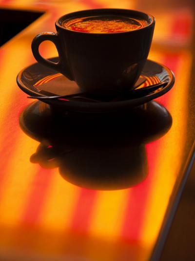 Cappuccino Reflection, Lugano, Ticino Canton, Switzerland-Walter Bibikow-Photographic Print
