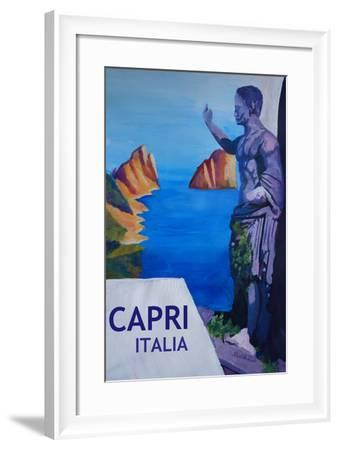 Capri view with Ancient Roman Empire Statue Poster-Markus Bleichner-Framed Art Print