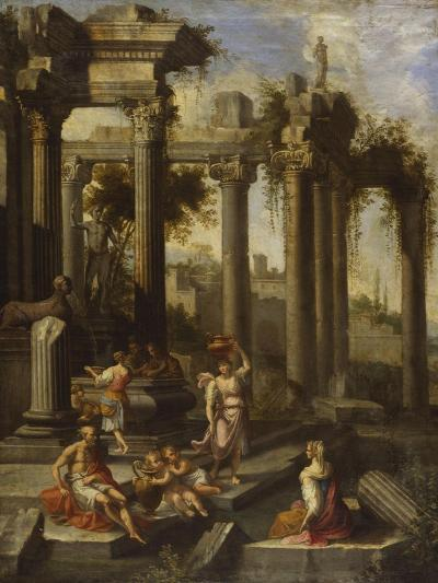 Capricci of Classical Ruins with Water Carriers, Philosophers and Noblemen (Left Panel)-Giovanni Ghisolfi (Circle of)-Giclee Print