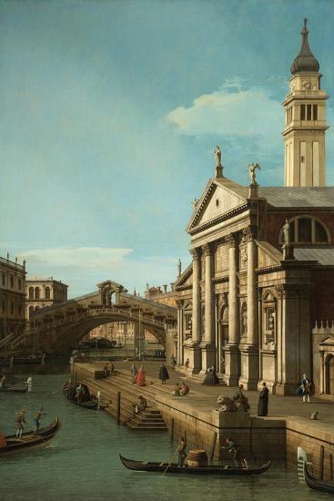 Capriccio: The Rialto Bridge and the Church of S. Giorgio Maggiore, c.1750-Canaletto-Giclee Print
