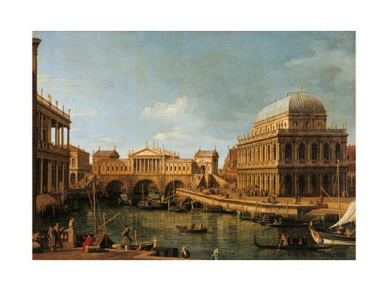 Capriccio with Palladian Buildings-Canaletto-Giclee Print