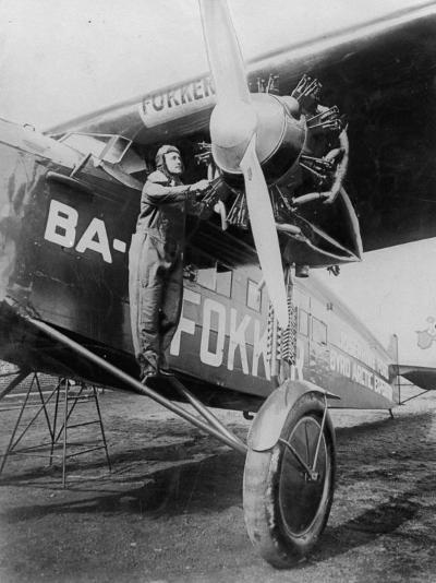 Capt. Richard E. Byrd Posing in the Fokker Plane Which Made Historic Flight to the North Pole--Premium Photographic Print