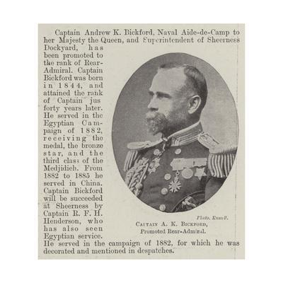 Captain a K Bickford, Promoted Rear-Admiral--Giclee Print