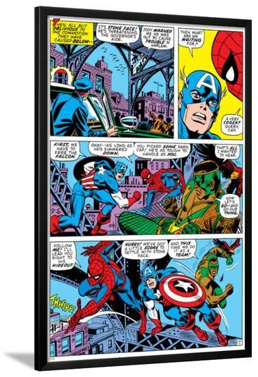 Captain America And The Falcon Group: Captain America, Falcon and Spider-Man--Lamina Framed Poster
