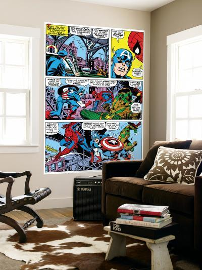Captain America And The Falcon Group: Captain America, Falcon and Spider-Man-John Romita Sr^-Wall Mural