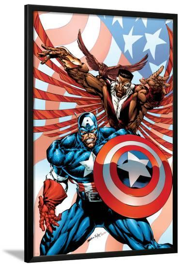 Captain America And The Falcon No.2 Cover: Captain America and Falcon-Bart Sears-Lamina Framed Poster