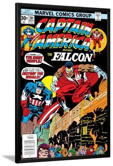 Captain America And The Falcon No.201 Cover: Captain America and Falcon Crouching-Jack Kirby-Lamina Framed Poster