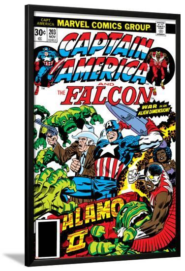 Captain America And The Falcon No.203 Cover: Captain America, Falcon, Marvel Comics and Thor-Jack Kirby-Lamina Framed Poster