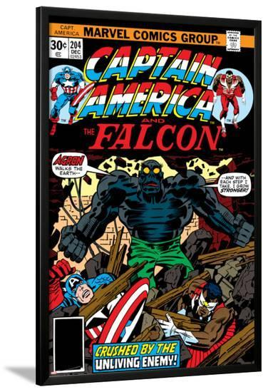 Captain America And The Falcon No.204 Cover: Captain America, Falcon and Agron Fighting-Jack Kirby-Lamina Framed Poster