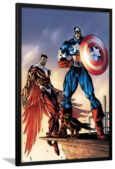 Captain America And The Falcon No.3 Cover: Captain America and Falcon-Bart Sears-Lamina Framed Poster