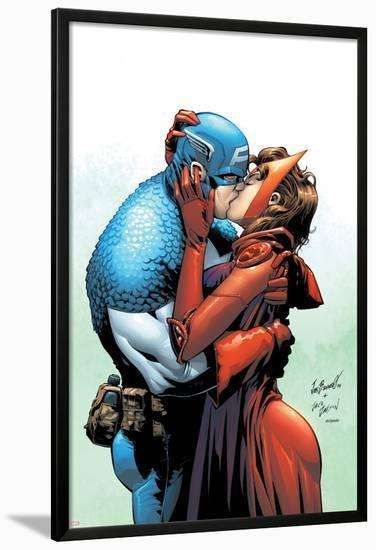 Captain America And The Falcon No.6 Cover: Captain America and Scarlet Witch-Joe Bennett-Lamina Framed Poster