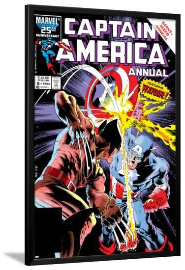 Captain America Annual No.8 Cover: Captain America and Wolverine Flying-Mike Zeck-Lamina Framed Poster