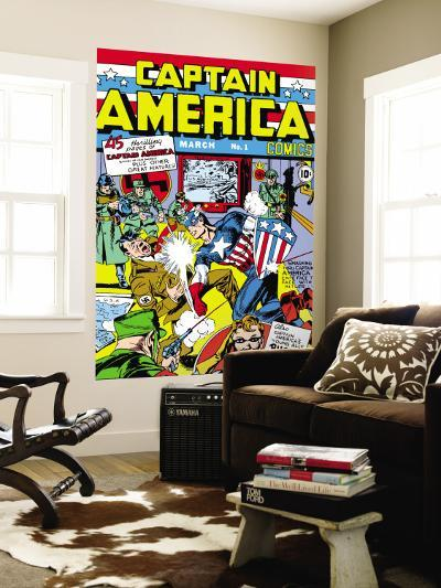 Captain America Comics No.1 Cover: Captain America, Hitler and Adolf-Jack Kirby-Wall Mural