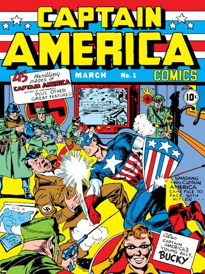 Captain America Comics No.1 Cover: Captain America, Hitler and Adolf-Jack Kirby-Poster