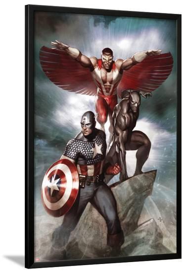 Captain America: Hail Hydra No.3 Cover: Captain America, Black Panther, and Falcon-Adi Granov-Lamina Framed Poster
