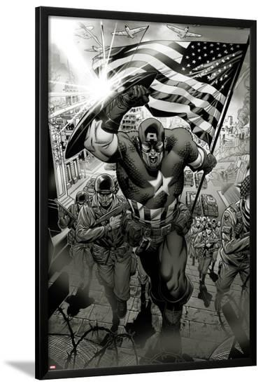 Captain America: Man out of Time No.1: Captain America Charging-Jorge Molina-Lamina Framed Poster