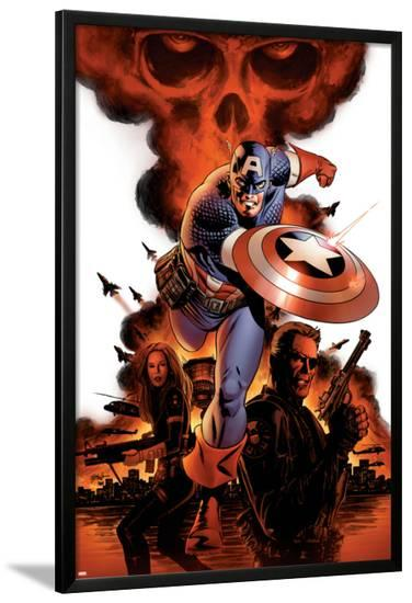 Captain America No.1 Cover: Captain America, Nick Fury and Black Widow-Steve Epting-Lamina Framed Poster