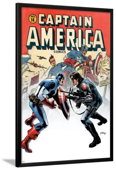 Captain America No.14 Cover: Captain America and Bucky-Steve Epting-Lamina Framed Poster