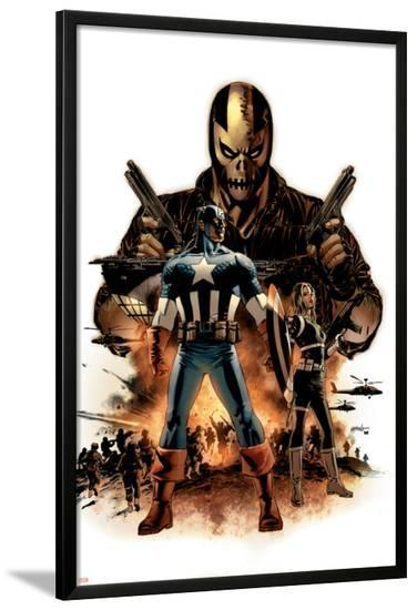 Captain America No.16 Cover: Captain America, Crossbones and Sin-Mike Perkins-Lamina Framed Poster