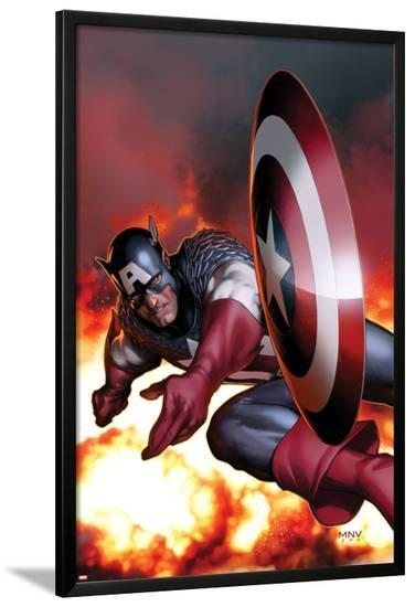 Captain America No.2 Cover: Captain America Jumping and Throwing his Shield-Steve MCNiven-Lamina Framed Poster