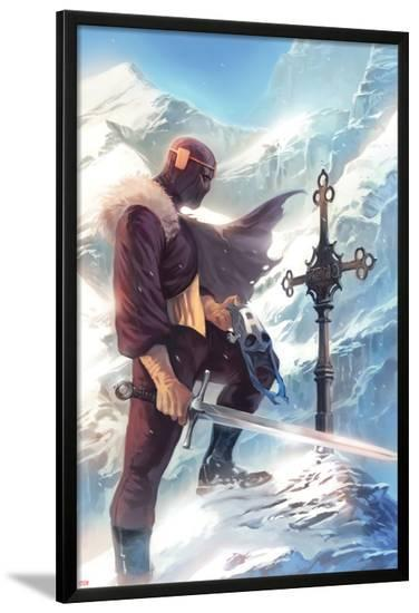 Captain America No.608 Cover: Baron Zemo Standing with a Sword in the Snow-Marko Djurdjevic-Lamina Framed Poster