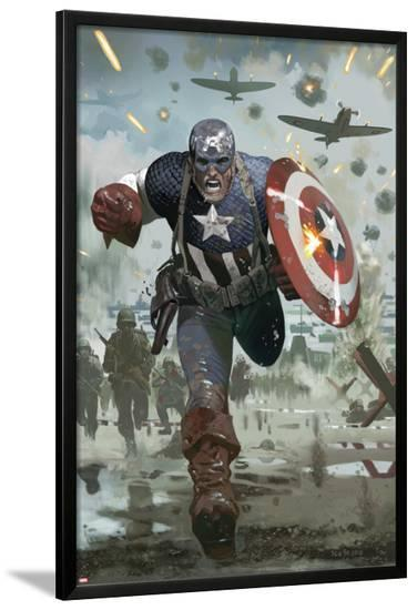 Captain America No.615 Cover: Captain America Running with his Shield-Daniel Acuna-Lamina Framed Poster