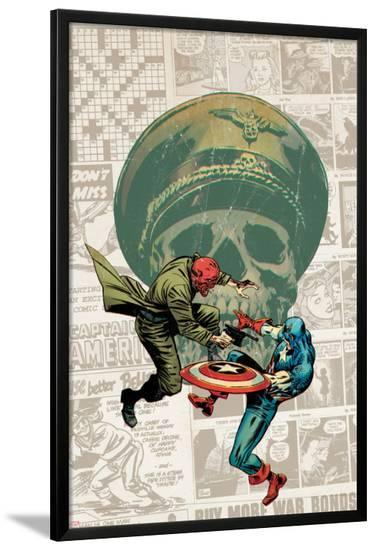Captain America: The 1940s Newspaper Strip No.3 Cover: Red Skull Fighting Captain America-Butch Guice-Lamina Framed Poster