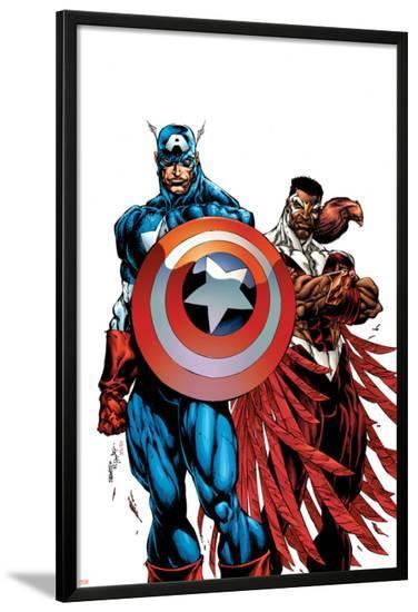 Captain America & The Falcon No.1 Cover: Captain America and Falcon-Bart Sears-Lamina Framed Poster