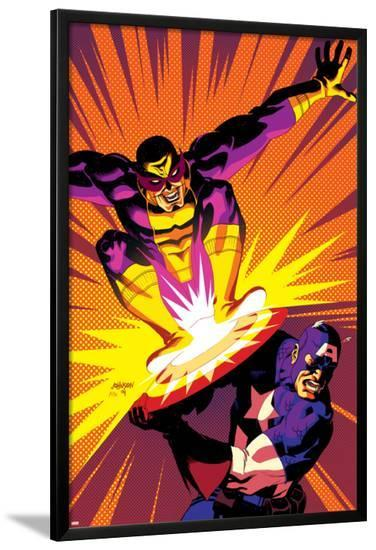 Captain America V4, No.30 Cover: Captain America and Batroc The Leaper-Dave Johnson-Lamina Framed Poster