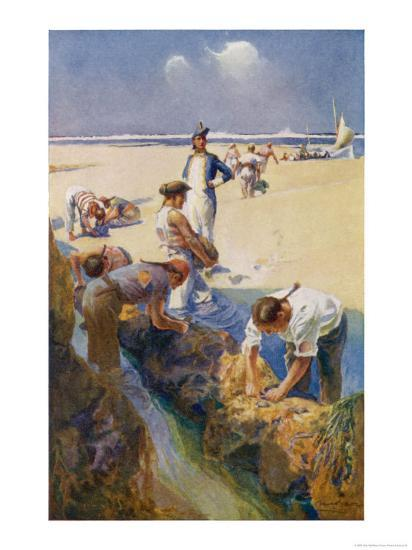 Captain Bligh and His Fellow Castaways Survive by Seeking Oysters off the Great Barrier Reef-Alec Ball-Giclee Print