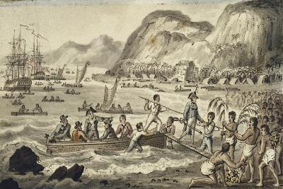 Captain Cook Landing in Owyhee, Illustration from 'The Voyages of Captain Cook'-Isaac Robert Cruikshank-Giclee Print